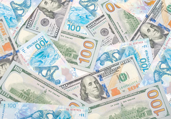 background of Russian rubles and U.S. dollars