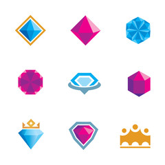 Royal luxury shine diamond gems symbol of king rocks logo