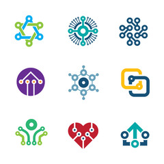 Future innovation technology integrated chip science logo icons