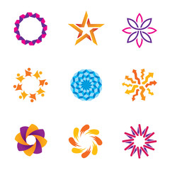 People abstract community spiral success circle logo icons