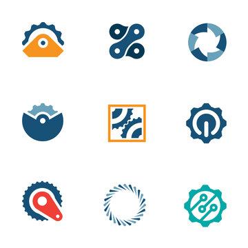 Wheel power steal machine industrial logo icons set