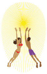 Couple playing with sun as a beach volley's ball