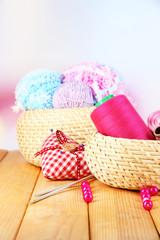 Handicraft supplies in basket