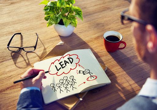 Businessman Brainstorming About Leadership