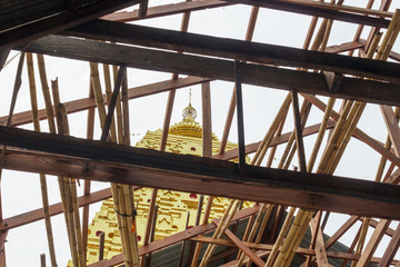 Gold Buddhagaya pagoda, Buddhist sanctuary, Sangklaburi, Thailan