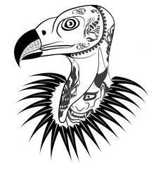 Vulture head with tattoo