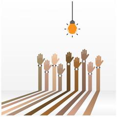 businessman hand symbol with creative light bulb sign