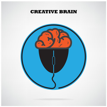 Creative brian symbol with computer mouse sign,business idea ,ed