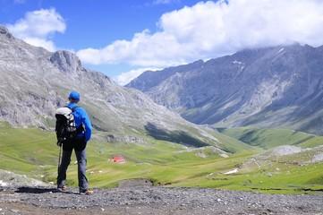 Man on mountain pass of Aliva.