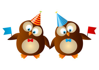 Cute Birthday owls with flags
