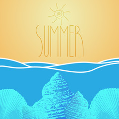 Vector summer background with ocean and seashell