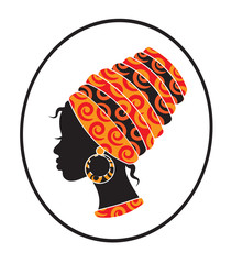 African girls face with a scarf on her head in profile