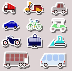 transporation icons as stickers