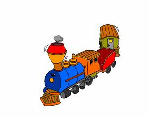 trenino colorato su sfondo bianco