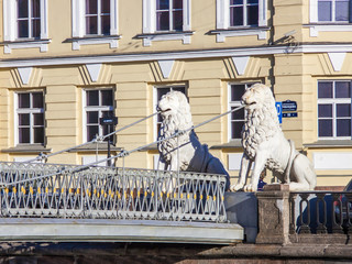 St. Petersburg, Russia. Pedestrian Lion bridge over Griboyedov C