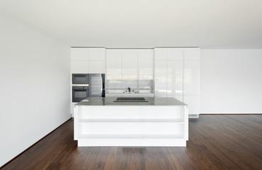beautiful empty apartment, white kitchen