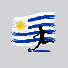 Soccer Player action Oriental Republic of Uruguay  flag on backg