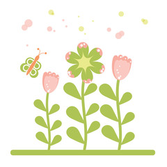 retro flower and butterfly, vector eps10