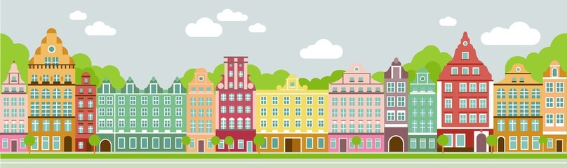 Seamless colorful panoramic town in european style