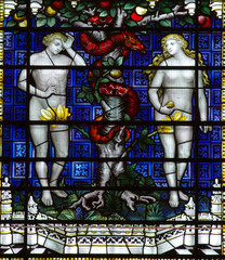 Fototapete - A stained glass window: Adam and Eve and the snake in paradise.