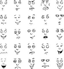 Cartoon face emotions hand drawn set