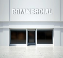 Shopfront window commercial, front view