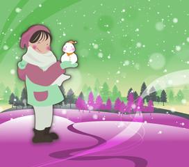 Illustration of winter Landscape