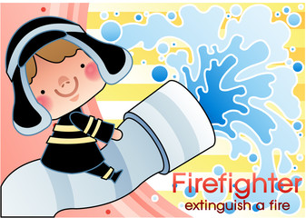 Illustration of firefighter