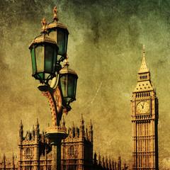 Fototapete - Big Ben und Straßenlaterne mit Grunge-Textur