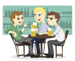 Three male employee enjoy drinking beer on a bar