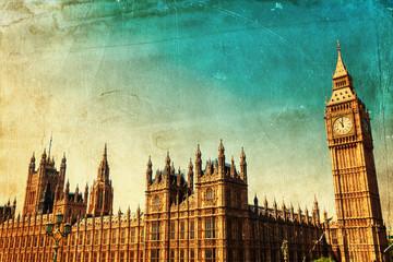 Fotomurales - nostalgisches Bild vom Big Ben und Westminster Palace
