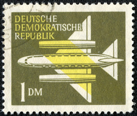 stamp printed in Germany, shows Stylized Plane