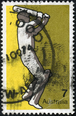 Stamp printed in AUSTRALIA shows the Cricket