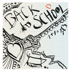 Back to school naive primitive doodles hand drawn with ink