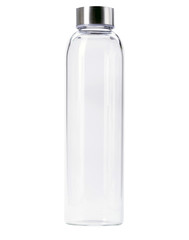 Transparent of aluminum lid glass bottle isolated on white