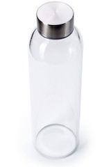 Transparent of aluminum lid glass bottle isolated on white