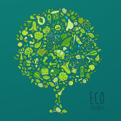 Eco Friendly set, save earth concept, vector illustration