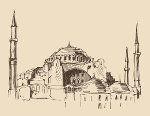 Istanbul, city architecture, vintage engraved illustration