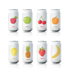 Grey tin of fruit juice. Vector design
