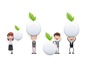 Business people with white button with leaf