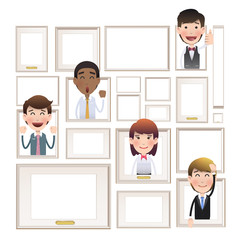 Business people inside frame over white background