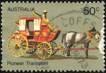 stamp printed in Australia shows Coach Transport