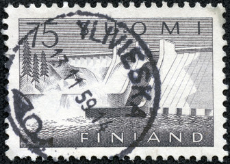 stamp printed in the Finland shows Pyhakoski Power Station