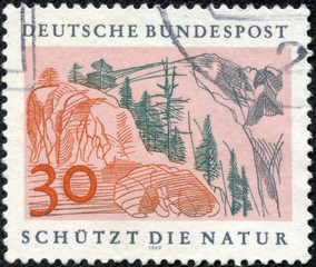 stamp printed in the German shows Alpine landscape