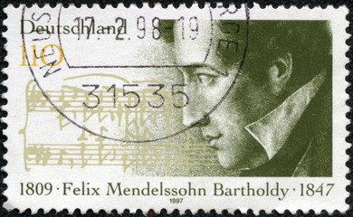 stamp shows Felix Mendelssohn Bartholdy composer
