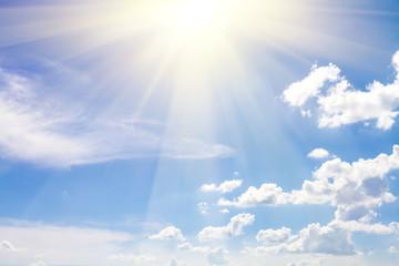 cloudy sky blue with sun