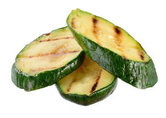 Grilled zucchini slices isolated on white background