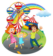A family at the carnival