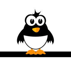 sweet and cute penguin color vector