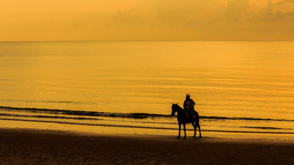 Man with Horse on Seacoast.